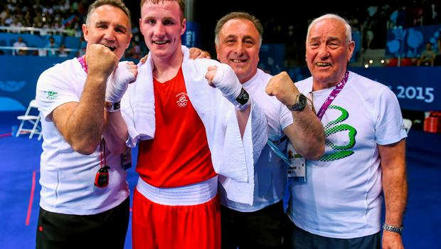 27 June 2015; Michael O'Reilly, Ireland, with coaches, from left, Billy Walsh, Zaur Antia and Gerry Storey after victory over Zaybula Musalov, Azerbaijan, following their Men's Boxing Middle 75kg Final bout. 2015 European Games, Crystal Hall, Baku, Azerbaijan. Picture credit: Stephen McCarthy / SPORTSFILE