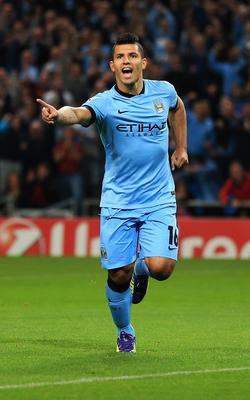 Manchester City's Sergio Aguero celebrates scoring during the UEFA Champions League match at the Etihad Stadium, Manchester. PRESS ASSOCIATION Photo. Picture date: Tuesday September 30, 2014, See PA story SOCCER Man City. Photo credit should read: Lynne Cameron/PA Wire.