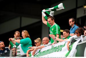 13 June 2015; A Republic of Ireland supporter reacts to chants for his side. UEFA EURO 2016 Championship Qualifier, Group D, Republic of Ireland v Scotland, Aviva Stadium, Lansdowne Road, Dublin.  Picture credit: Seb Daly / SPORTSFILE