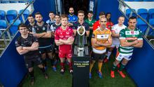 Players stand with the trophy during the Guinness Pro14 Media Day at Cardiff City Stadium in Cardiff, Wales in November 2019. Photo: Chris Fairweather/Sportsfile