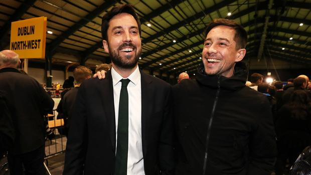 No laughing matter: Housing Minister Eoghan Murphy celebrates holding onto his seat alongside his actor brother, Killian Scott, at the RDS. photo: Steve Humphreys