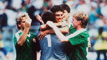 David O'Leary (centre) celebrates with his Ireland teammates after scoring the penalty that beat Romania in the 1990 World Cup