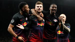 RB Leipzig's Timo Werner celebrates with teammates. Photo: Reuters