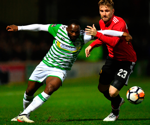 Yeovil Town's Francois Zoko challenges Manchester United's Luke Shaw. Photo: Getty Images