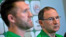 Republic of Ireland manager Martin O'Neill with Robbie Keane during a press conference today in Malahide