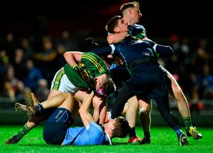 Kerry's Jack Savage (L) and Paul Geaney tussle off the ball with Dublin's Mick Fitzsimons, Stephen Cluxton and Philly McMahon. Photo: Diarmuid Greene/Sportsfile
