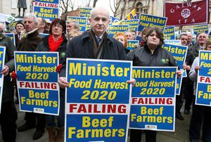 IFA President Eddie Downey with beef farmers at the IFA protest in Dublin in March