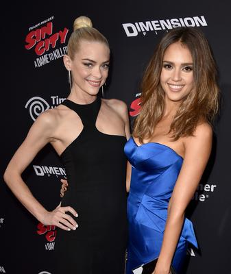 """Actresses Jaime King (L) and Jessica Alba attend the premiere of Dimension Films' """"Sin City: A Dame To Kill For"""" at TCL Chinese Theatre"""