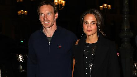 Michael Fassbender with his wife Alicia Vikander.  (Photo by Pierre Suu/Getty Images)
