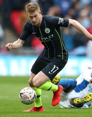 Manchester City's Belgian ace Kevin de Bruyne in action against Brighton during Saturday's FA Cup semi-final clash. Photo: Reuters