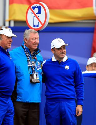 Europe captain Paul McGinley (right) and Sir Alex Ferguson on the first tee during the Singles matches on day three of the 40th Ryder Cup at Gleneagles Golf Course, Perthshire. PRESS ASSOCIATION Photo. Picture date: Sunday September 28, 2014. Photo credit should read: Mike Egerton/PA Wire. RESTRICTIONS: Use subject to restrictions. Editorial use only. No commercial use. Call +44 (0)1158 447447 for further information.