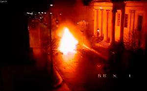 Screengrab from CCTV footage issued by the PSNI showing a car bomb exploding outside the court house on Bishop Street, Derry. Photo: PSNI/PA Wire