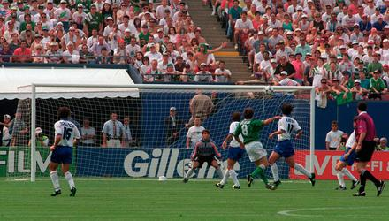 Ray Houghton watches his shot home in on Gianluca Pagliuca's goal during the 1994 World Cup clash in New York. Photo: David Maher/Sportsfile