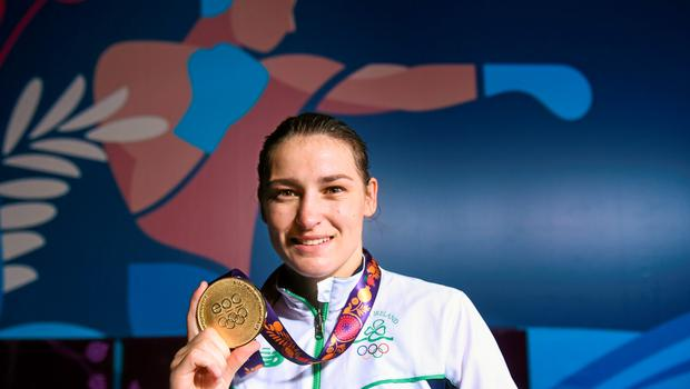 27 June 2015; Katie Taylor, Ireland, with her Women's Boxing Light 60kg Final gold medal. 2015 European Games, Crystal Hall, Baku, Azerbaijan. Picture credit: Stephen McCarthy / SPORTSFILE