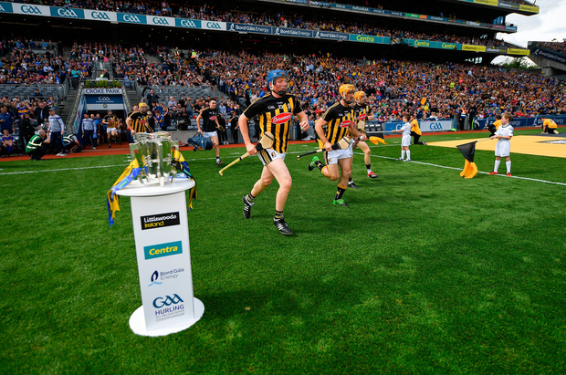 Kilkenny players race past the Liam MacCarthy Cup ahead of this year's All-Ireland SHC final. In 2017, it was reported that the county's total inter-county team spend, on almost exclusively one code, was €620,000. Photo by Seb Daly/Sportsfile