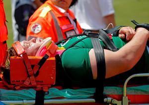 Ireland's Andrew Porter is taken off the pitch on a stretcher. Happily, Porter's injury wasn't serious and he rejoined the squad to watch the final