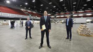 Nowhere to hide: Taoiseach Leo Varadkar, HSE chief executive Paul Reid and Health Minister Simon Harris in the conference centre at the Citywest Hotel in Dublin as preparations get under way for a Covid-19 isolation and step-down facility. Photo: Leon Farrell/Photocall Ireland