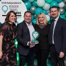 Winners: 'Weekend' editor Rachel Dugan (left) with (centre) Neven and Amelda Maguire and travel editor Pól Ó Conghaile. Photo: Fran Veale