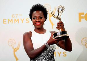 Actress Viola Davis, winner of the award for Outstanding Lead Actress in a Drama Series for 'How to Get Away With Murder', poses in the press room at the 67th Annual Primetime Emmy Awards at Microsoft Theater