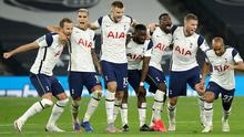 Tottenham Hotspur players celebrate after winning the penalty shoot-out