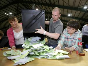 The ballot boxes in the Marriage Equality Referendum and the  Presidential Age Referendum  Pic Frank Mc Grath