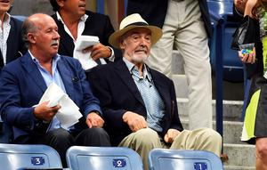 Sean Connery watches the 2015 US Open Men's singles final match. Photo: AFP
