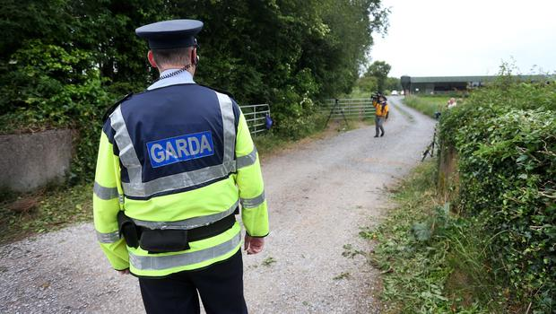 Gardai at the scene where the human remains were found Coghalstown in Co Meath. Pic Steve Humphreys 25th June 2015.