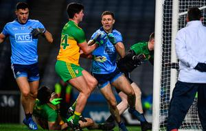 Dublin's Paul Mannion , centre, reacts after scoring his side's first goal during the Allianz Football League Division 1 win over Donegal at Croke Park. Photo: Sam Barnes/Sportsfile