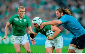 4 October 2015; Rory Best, Ireland, is tackled by Josh Furno, Italy. 2015 Rugby World Cup, Pool D, Ireland v Italy. Olympic Stadium, Stratford, London, England. Picture credit: Brendan Moran / SPORTSFILE