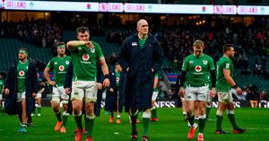 Ireland players, from left, Rob Herring, Peter O'Mahony, Devin Toner and Keith Earls leave the pitch