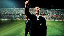 PURE JOY: Republic of Ireland manager Jack Charlton at Stadio La Favorita in Palermo, Italy, during the 1990 World Cup. Photo: Ray McManus/Sportsfile