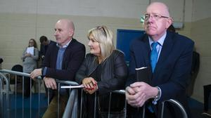 30/11/2019. Pictured at the By Election Count Centre, Wexford Town. Pictured is Verona Murphy Fine Gael By Election Candidate with Minister Charlie Flanagan Right and Cllr. Frank Staples (Left). Picture: Patrick Browne