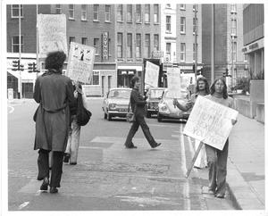 Gay Pride Day Protest, 27 June 1974, outside the Department of Justice. Photo by Gareth Miller. It is a condition of use that all photos are © credited to the photographer, courtesy Irish Queer Archive/National Library of Ireland.