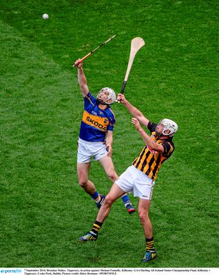 7 September 2014; Brendan Maher, Tipperary, in action against Michael Fennelly, Kilkenny. GAA Hurling All Ireland Senior Championship Final, Kilkenny v Tipperary. Croke Park, Dublin. Picture credit: Dáire Brennan / SPORTSFILE