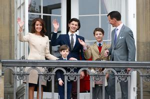 Prince Joachim of Denmark, Princess Marie of Denmark, Prince Nikolai of Denmark, Prince Felix of Denmark, Princess Athena of Denmark, Prince Henrik of Denmark, Count of Monpezat attends the celebrations of her Majesty's 76th birthday at Amalienborg Royal Palace on April 16, 2016 in Copenhagen, Denmark. (Photo by Luca Teuchmann/Getty Images)