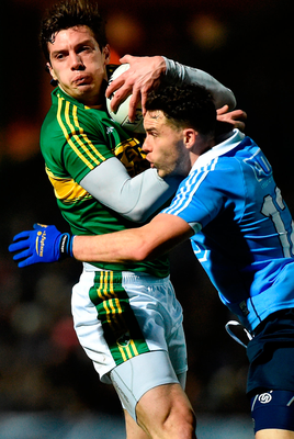 David Moran and Shane Carthy clash during last night's match in Austin Stack Park in Tralee. Photo: Diarmuid Greene/Sportsfile
