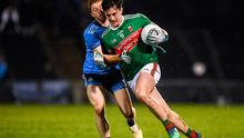 Mayo's Diarmuid O'Connor in action against Aaron Byrne of Dublin during the Allianz Football League Division 1 Round 2 match at Elverys MacHale Park in Castlebar, Mayo. Photo: Harry Murphy/Sportsfile