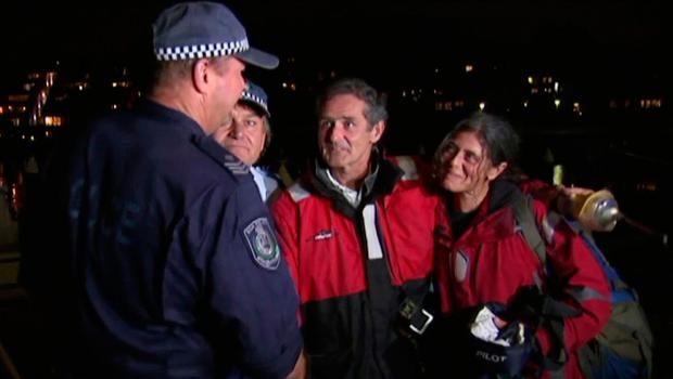 Nick Dwyer and Barbara Heftman thank Australian police who rescued them from their stricken yacht Picture: AP