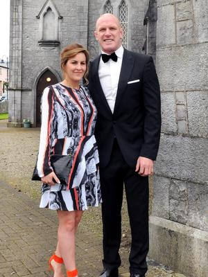 Emily and Paul O' Connell at the wedding of Irish Rugby player Sean Cronin and Claire Mulcahy at St. Josephs Catholic Church, Castleconnell, Co. Limerick. Picture: Gareth Williams / Press 22