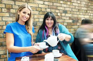 Vogue Williams, takes tea with Andrea Smith.. at Cafe java, Leeson Street,,,