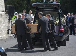 The remains of Eimear Walsh are brought to the Church of Our Lady of Perpetual Succour, Foxrock. Pic:Mark Condren