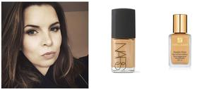 Lisa opts for Nars Sheer Glow and Estee Lauder Double Wear