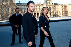 Actress Jennifer Aniston and Justin Theroux arrives to attend a dinner organized by French luxury group Louis Vuitton for the launching of new leather accessories in Paris, France, April 11, 2017. REUTERS/Gonzalo Fuentes