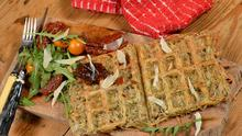 Serve these waffles with smoked salmon, ham or a poached egg and spinach as a Florentine egg waffle.
