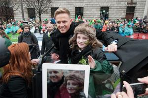 Grand marshall for Saint Patricks Day Parade former Westlife star Nicky Byrne arriving at this year's Saint Patricks Day Parade  Pic: Collins Photos.