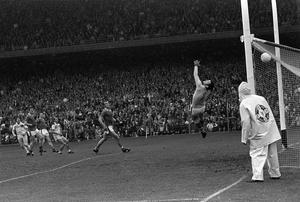 The defining moment of the 1982 All-Ireland final... Offaly's Seamus Darby, extreme left, watches his shot for a goal sail over Kerry 'keeper Charlie Nelligan. Photo: Colman Doyle