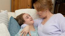 Broken leg: Joan Daly with her daughter Sophia, who suffers from cerebral palsy. Photo: Aaron Daly