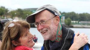 Garry Crothers returning home after sailing 3,600 miles. Photo: Belfast Telegraph