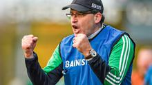 Kilmallock manager Ger O'Loughlin encourages his players during their Munster SHC win over Sarsfields. Picture credit: Diarmuid Greene / SPORTSFILE