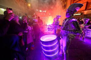 Spark drummers performing at the New Year's eve Winter Carnival in Newcastle city centre. Photo: Owen Humphreys/PA Wire